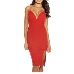 FORPLAY RED SLEEVELESS BODYCON EVENING DRESS